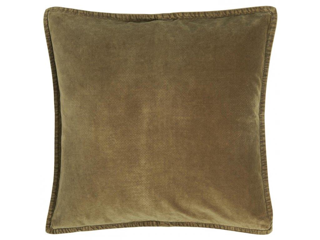 Sametový povlak na polštář podzimní zeleň