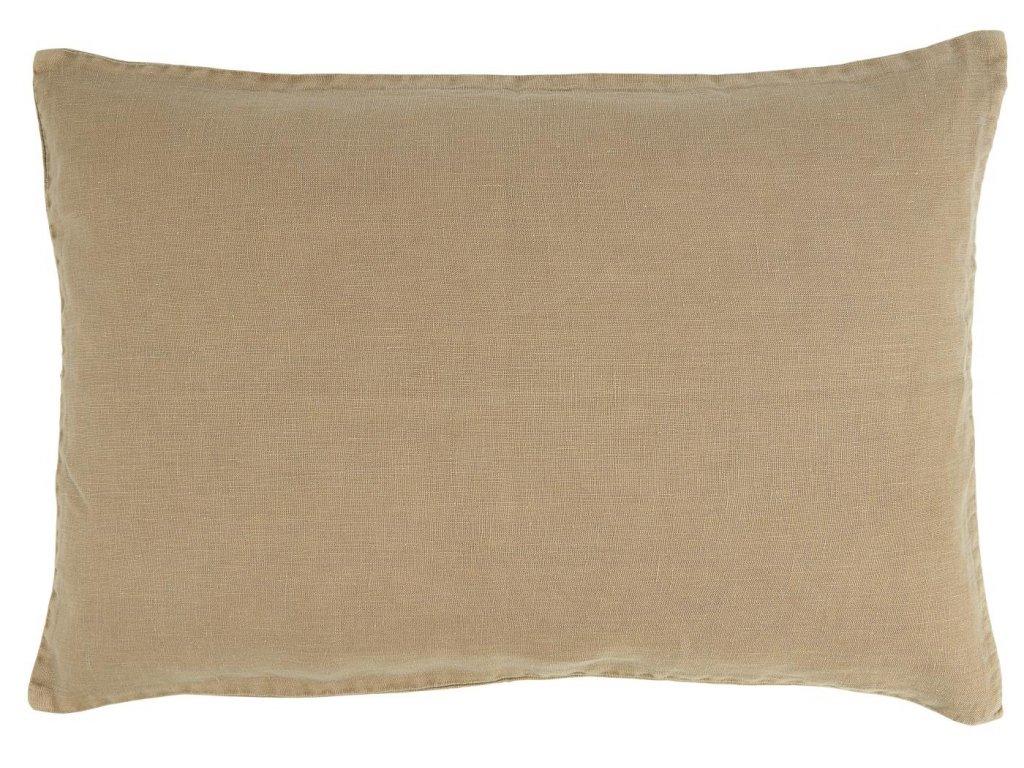 Lněný povlak na polštář koňakový