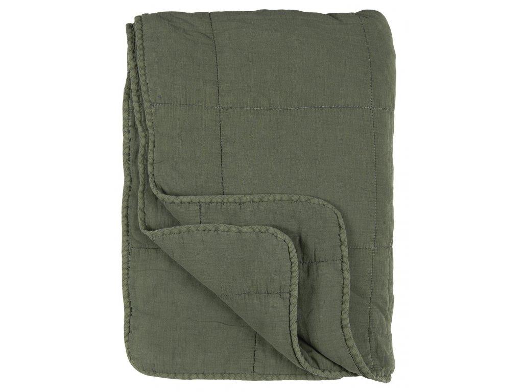 Bavněná deka ve vintage stylu křídově zelená Ib Laursen