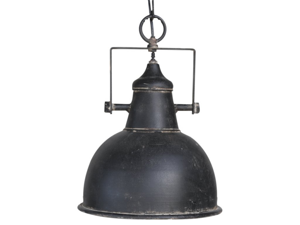 černý tovární lustr Chic Antique industriální
