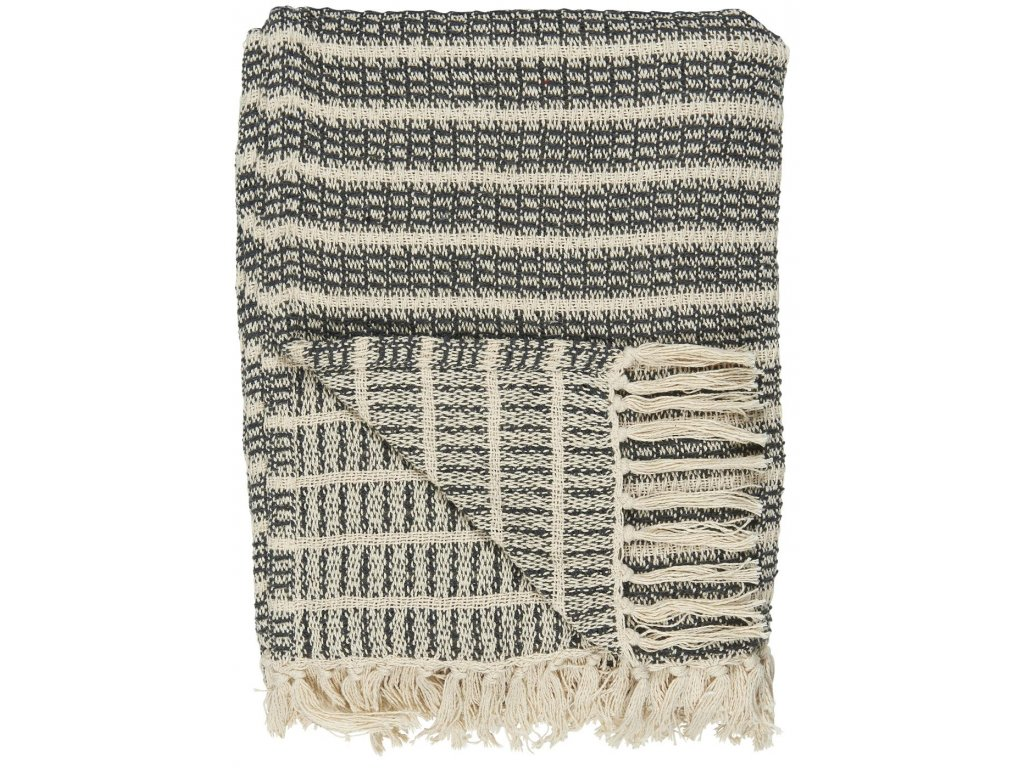 Vzorovaný bavlněný pléd krémově šedý Ib Laursen