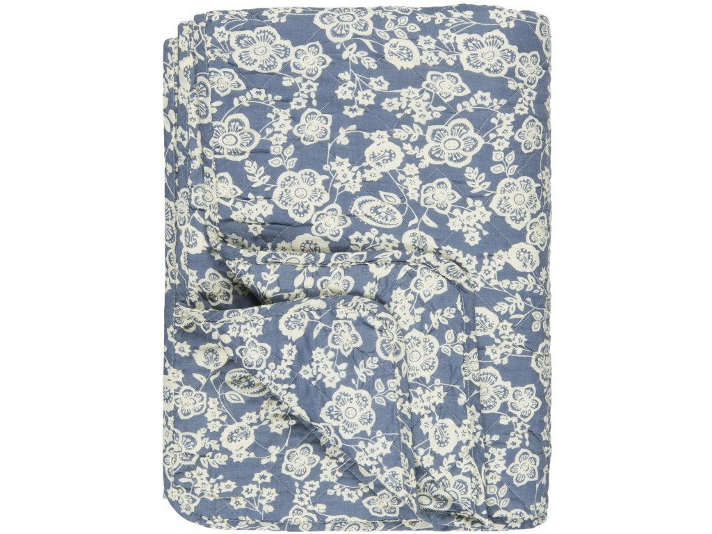 Bavlněná deka modrá s květinovým vzorem