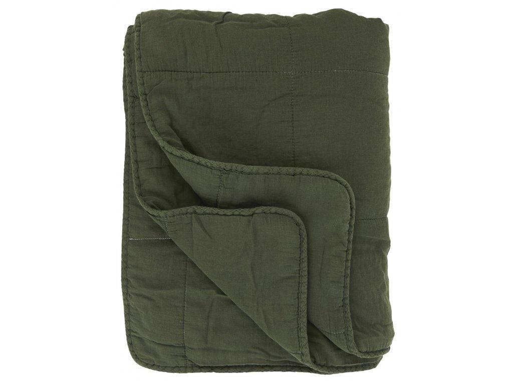 Bavlněná deka vintage styl tmavě zelená Ib Laursen