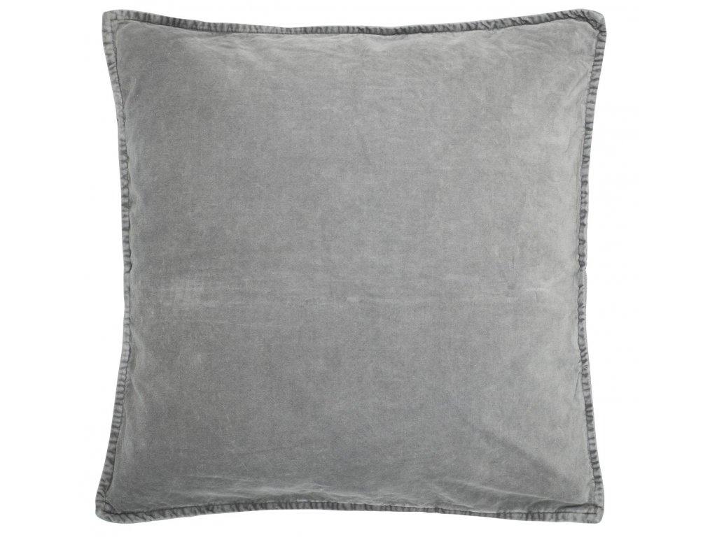 Sametový povlak na polštář kouřově šedý