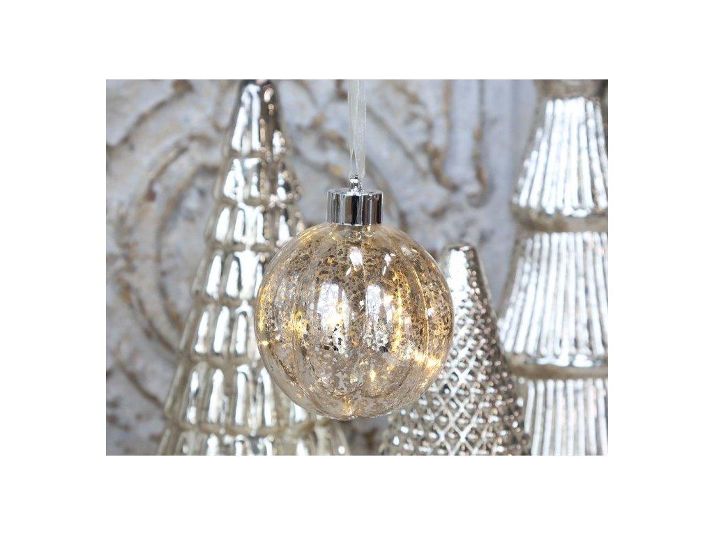 Vánoční ozdoba koule stříbrná LED