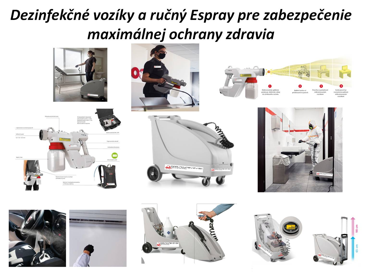 Dezinfekčné vozíky a pištol E-SPRAY