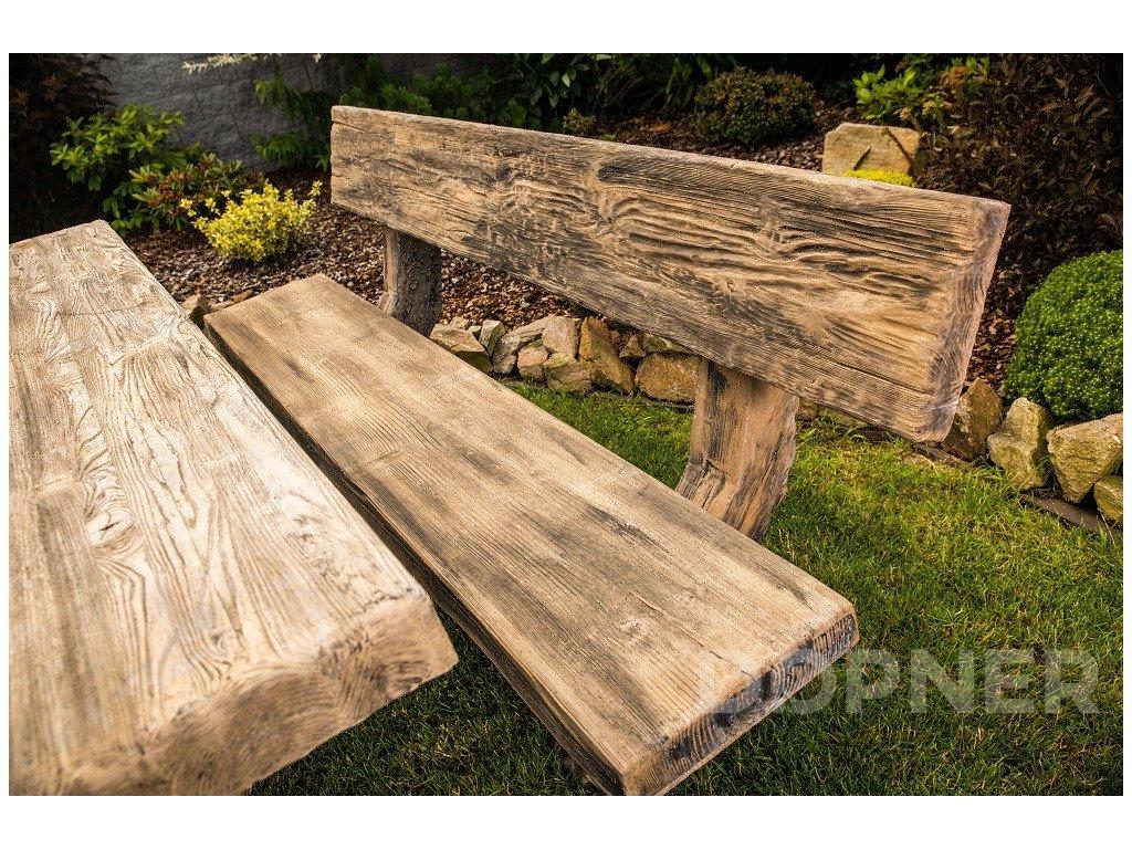 betonova lavice imitace dreva tvar