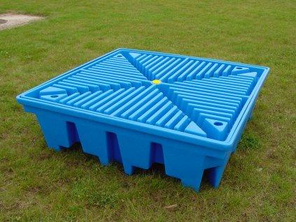 Záchytná paleta (podlaha) pod 4 sudy, modrá (objem 275 l)