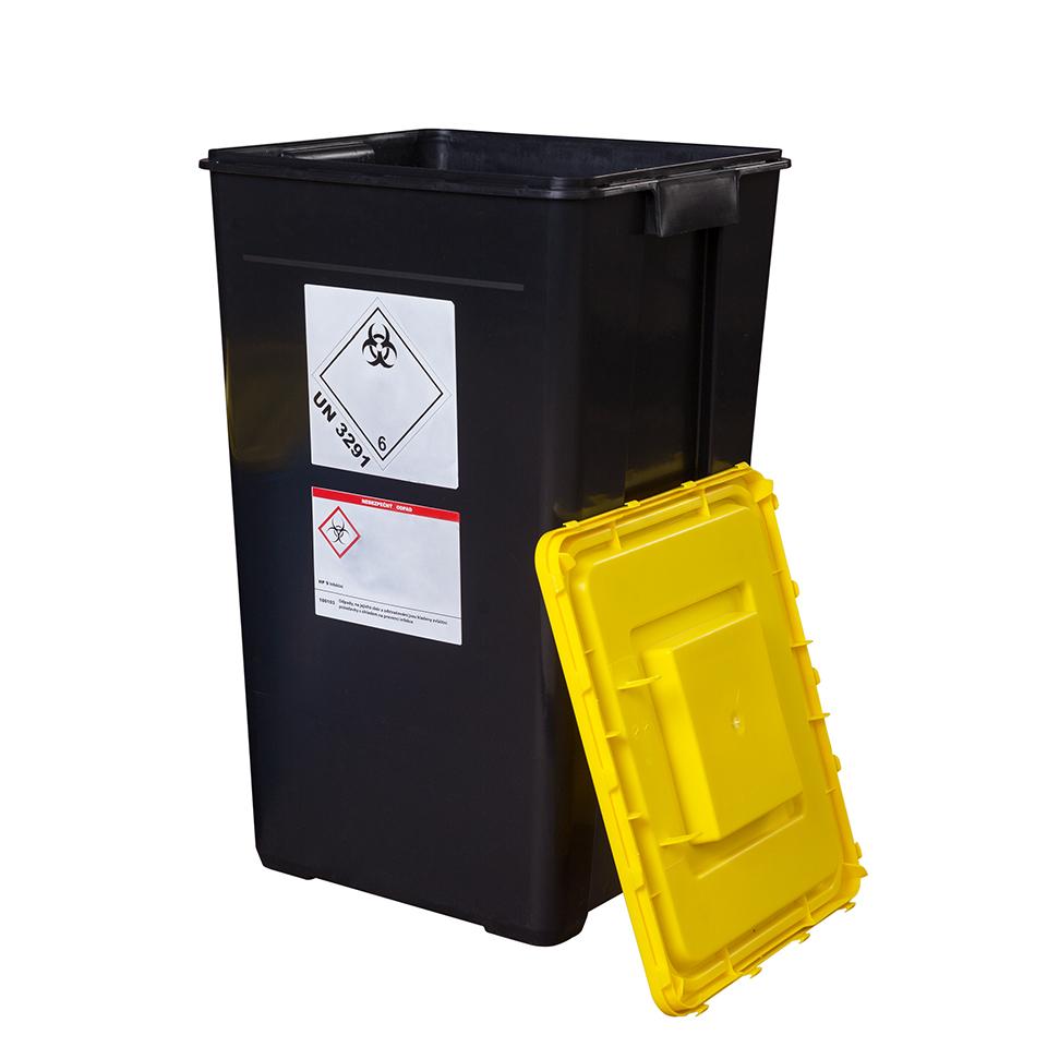 Klinik box (nádoba na nebezpečný odpad) 60 černá - UN kónická