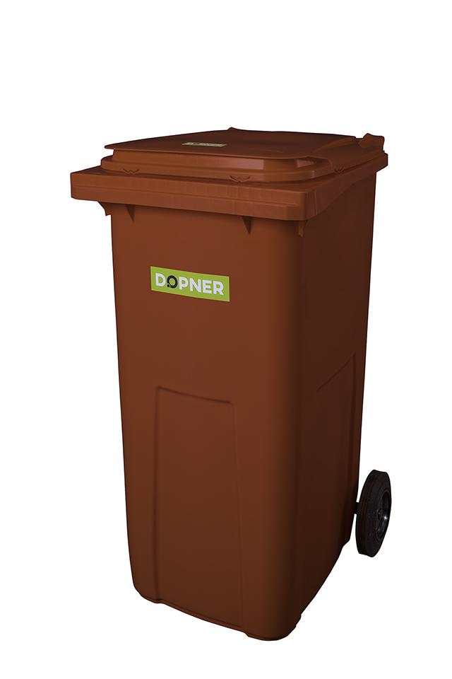 Plastová popelnice DOPNER 240 l - hnědá