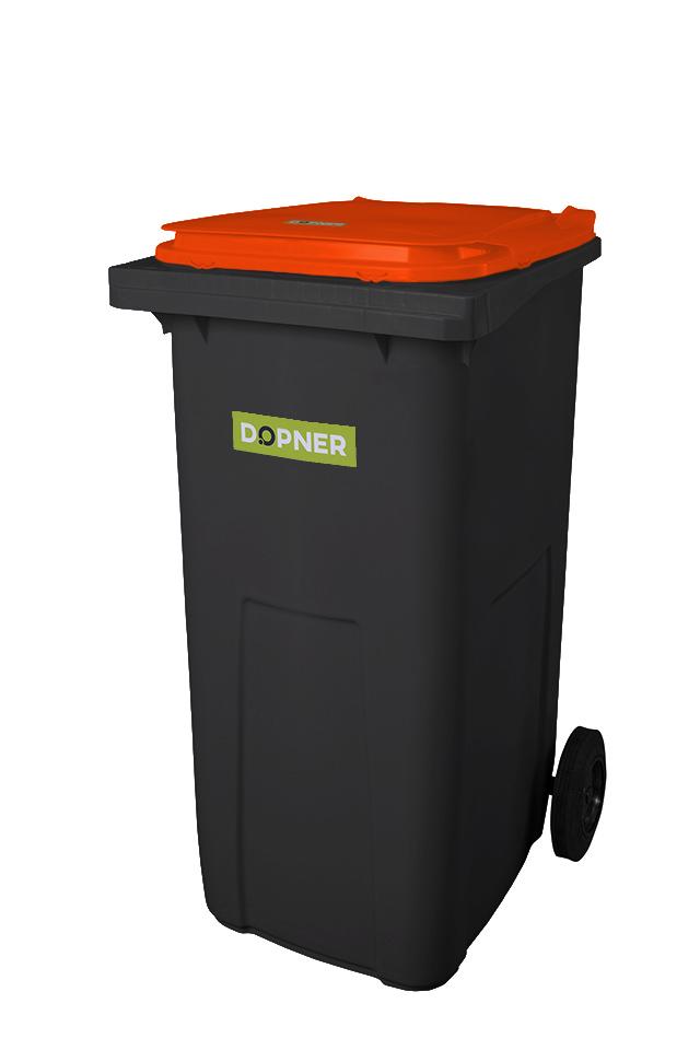 Plastová popelnice DOPNER 240 l - černá s oranžovým víkem