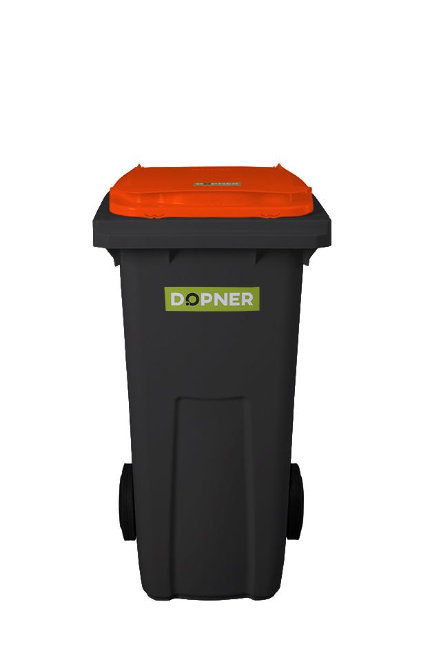 Plastová popelnice DOPNER 120 l - černá s oranžovým víkem