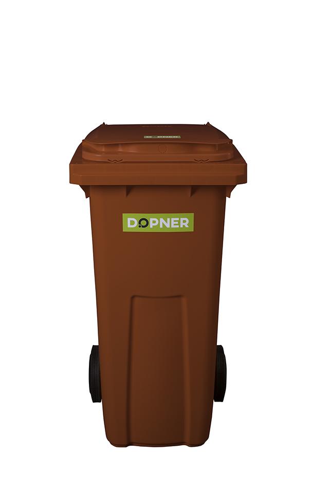 Plastová popelnice DOPNER 120 l - hnědá