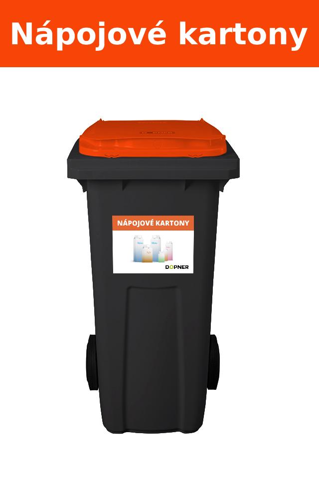Černá plastová popelnice s oranžovým víkem na nápojové kartony DOPNER 120 l