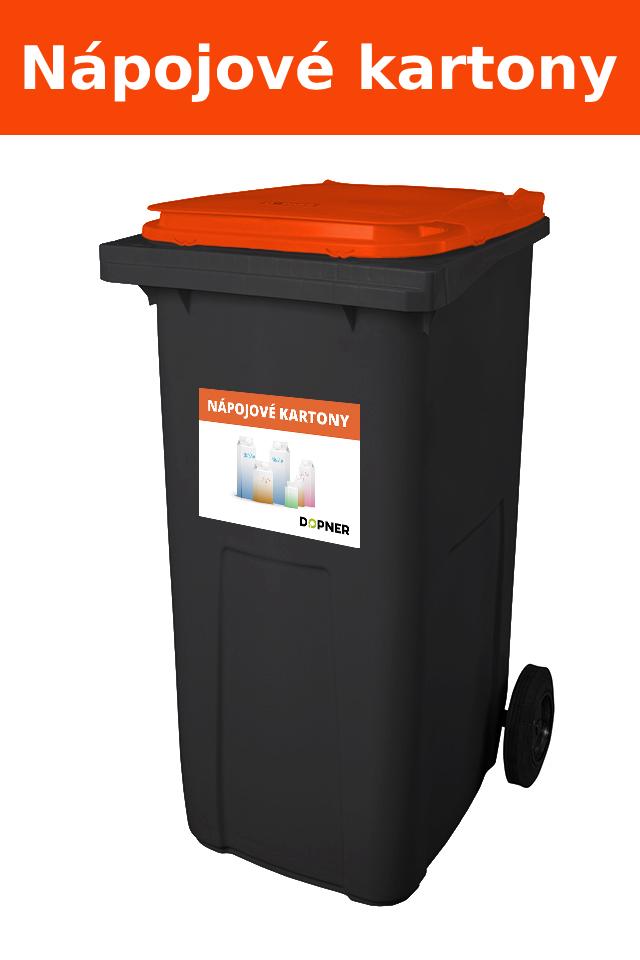 Černá plastová popelnice s oranžovým víkem na nápojové kartony DOPNER 240 l