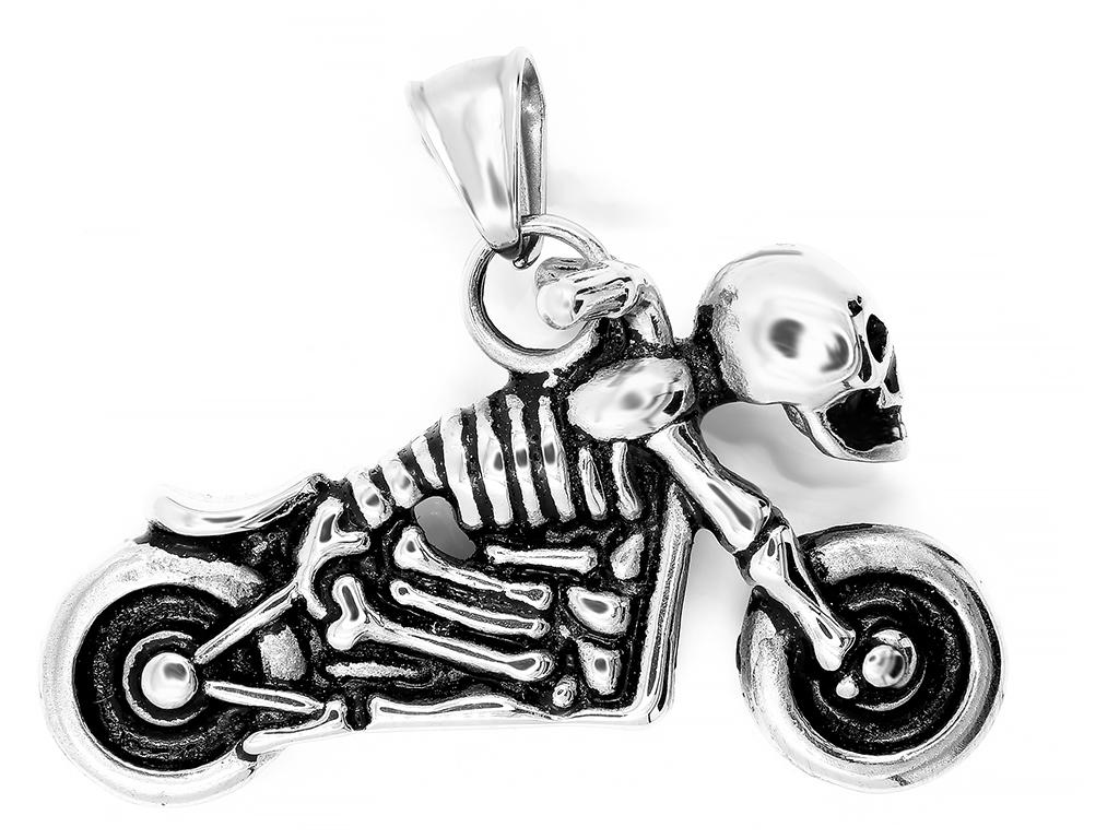 Pánský přívěsek Moto Skeleton - Chirurgická ocel www.DopravaGratis.cz