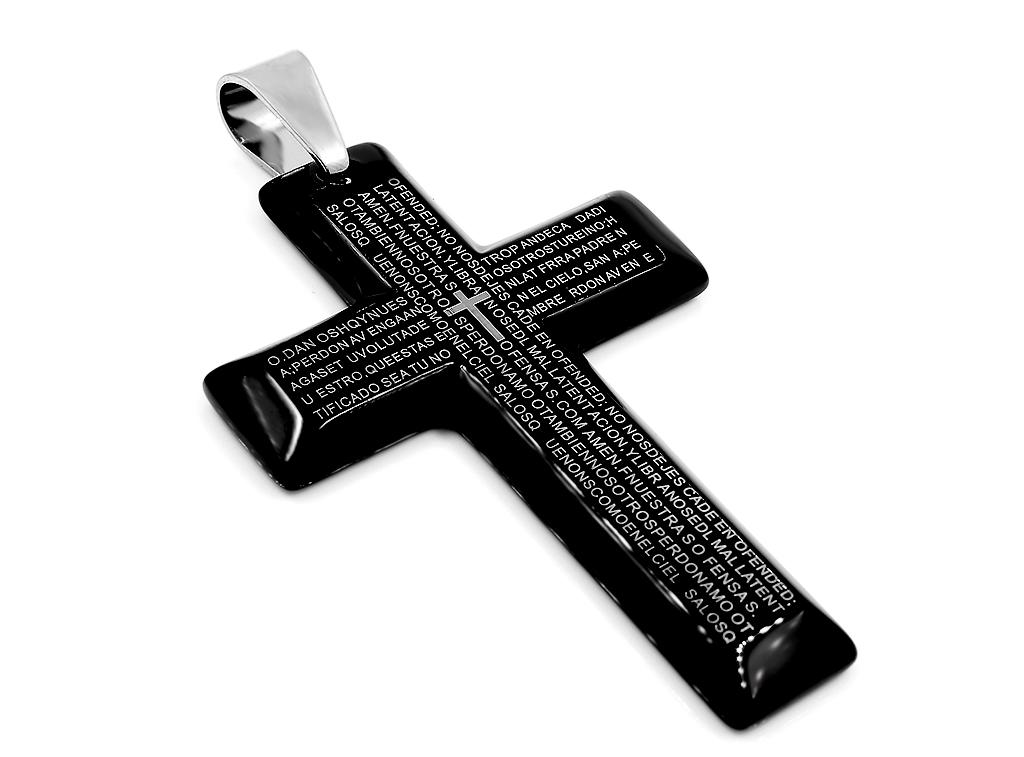 Křížek má na přední straně vyražený latinský úryvek z Bible.  Zadní strana je hladká bez ozdob. Jedná se o velmi atraktivní a kvalitně zpracovaný šperk.