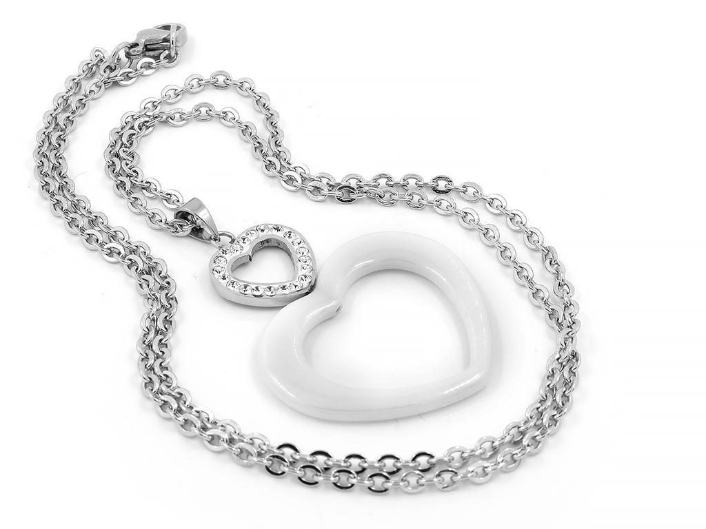 Přívěsek luxusní keramické srdce - Chirurgická ocel