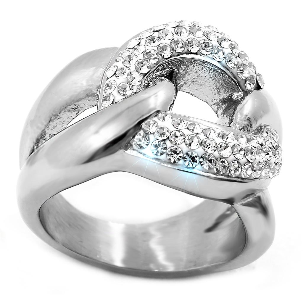 Dámský ocelový prsten se zirkony ....