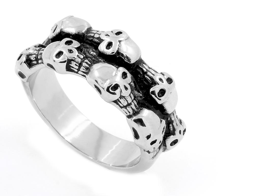 Pánský prsten s lebkami - Chirurgická ocel