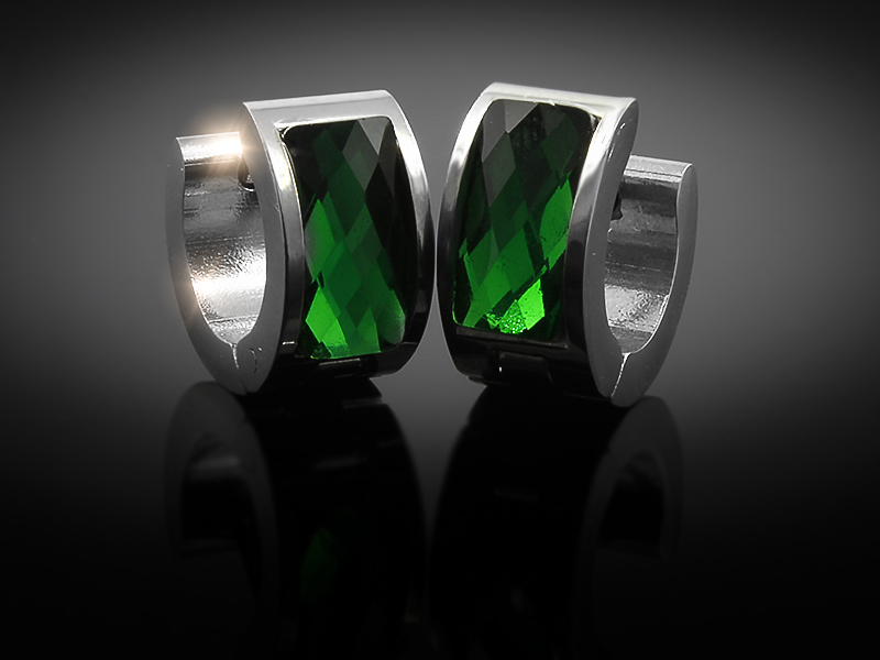Náušnice kruhy se zeleným krystalem - Chirurgická ocel + Doprava ZDARMA