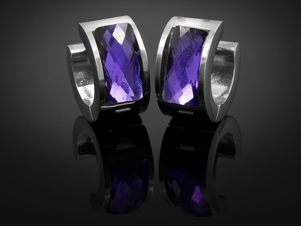 Náušnice kruhy s fialovým krystalem - Chirurgická ocel + Doprava ZDARMA