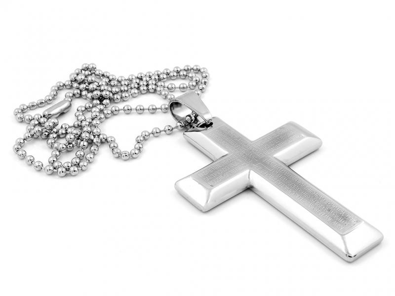 Křížek s vyrytým úryvkem z Bible chirurgická ocel + Doprava ZDARMA