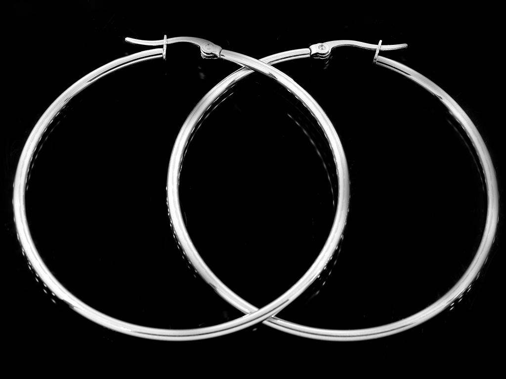 Náušnice klasické kruhy 5 cm chirurgická ocel + Dárkové balení zdarma