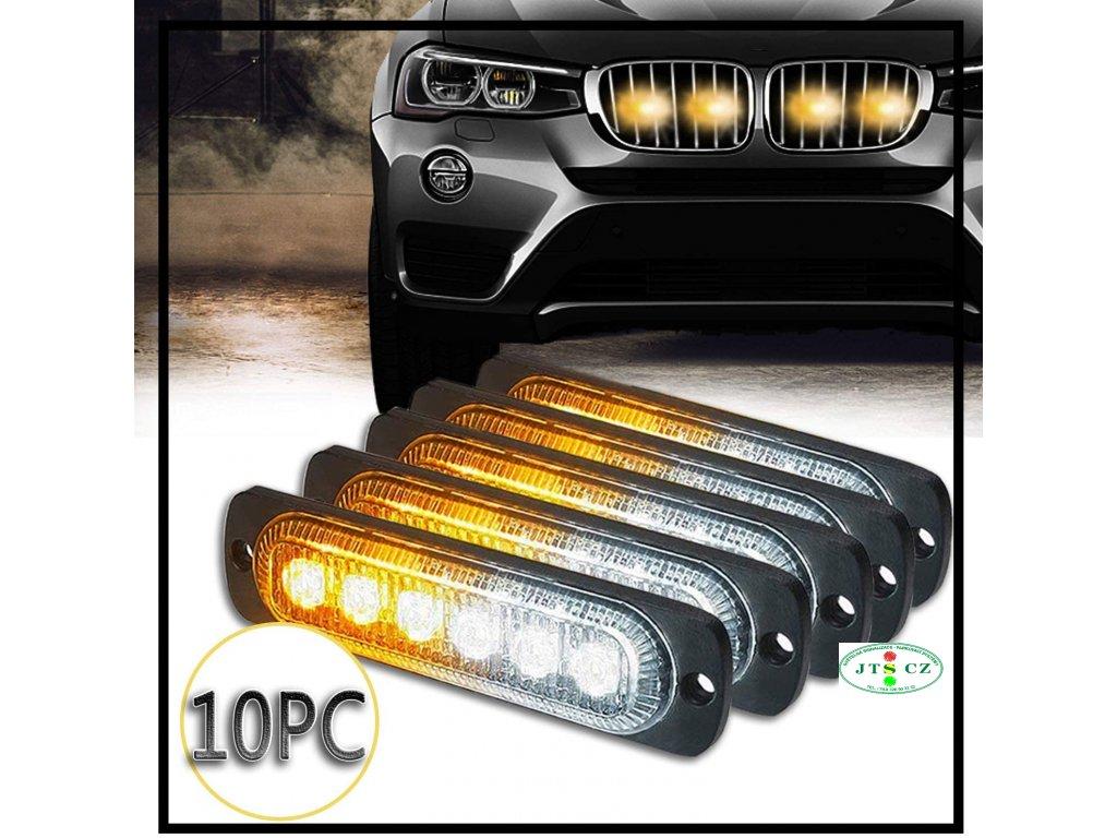LED PREDATOR výstražné světlo venkovní 6xLED DUALCOLOR PREDÁTOR LED vnější 6x superled slim