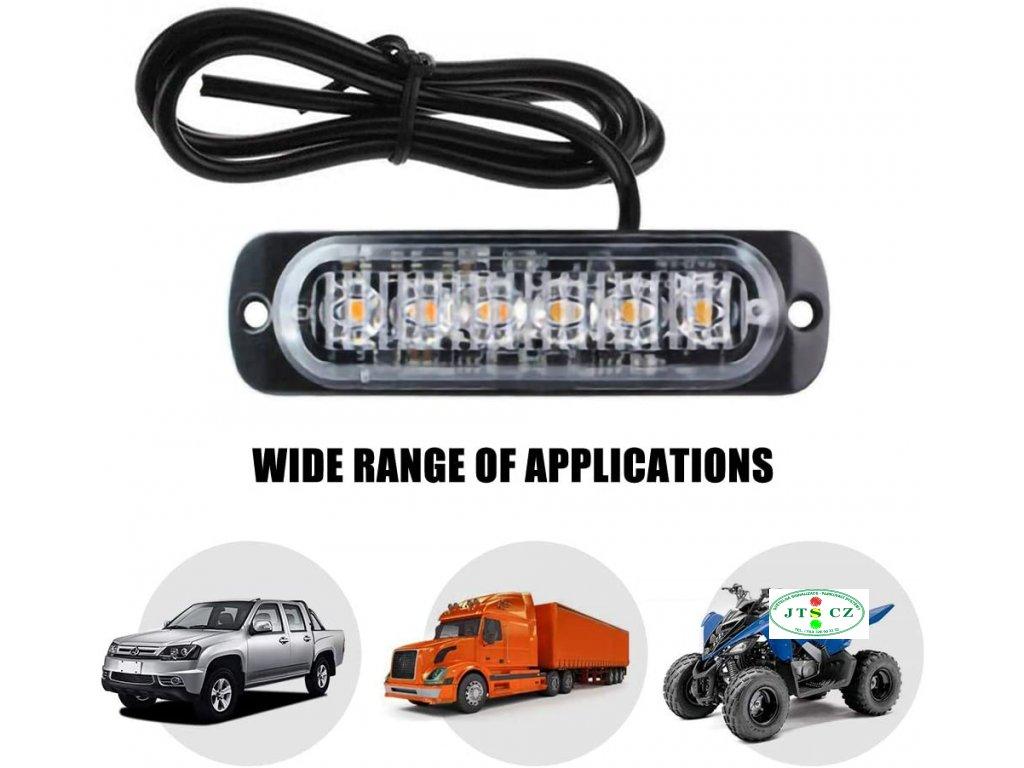 LED výstražné světlo venkovní 6xLED Oranžová Trvalý svit vnější 6x superled slim