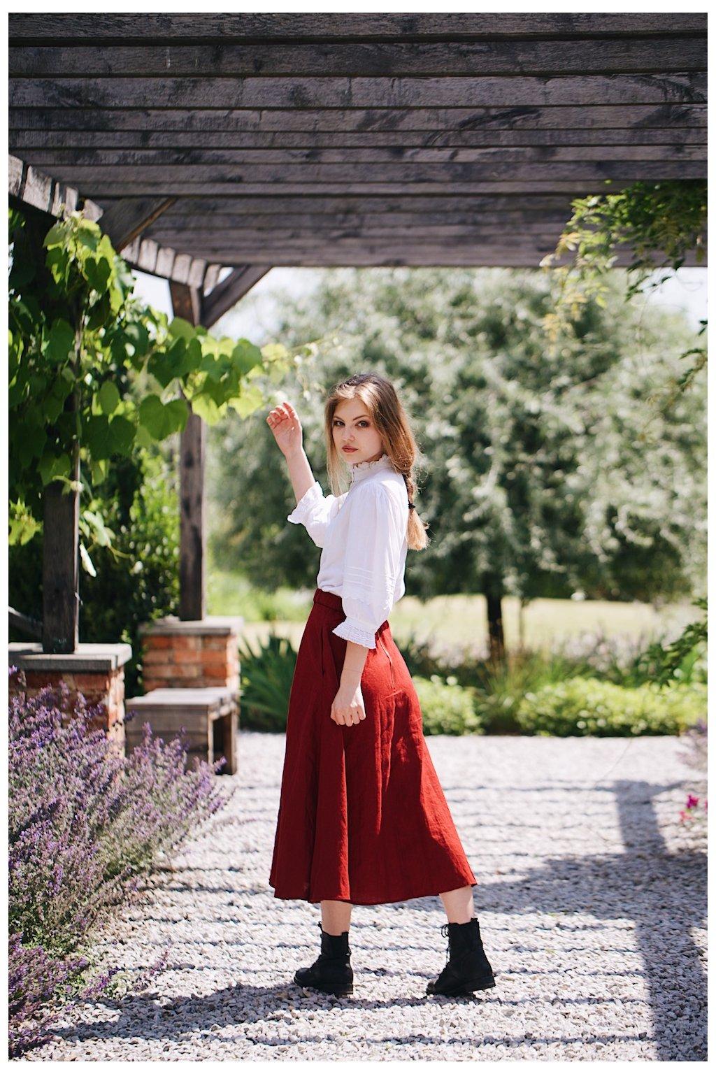 Dlhá dámska ľanová sukňa (VIAC FARIEB)