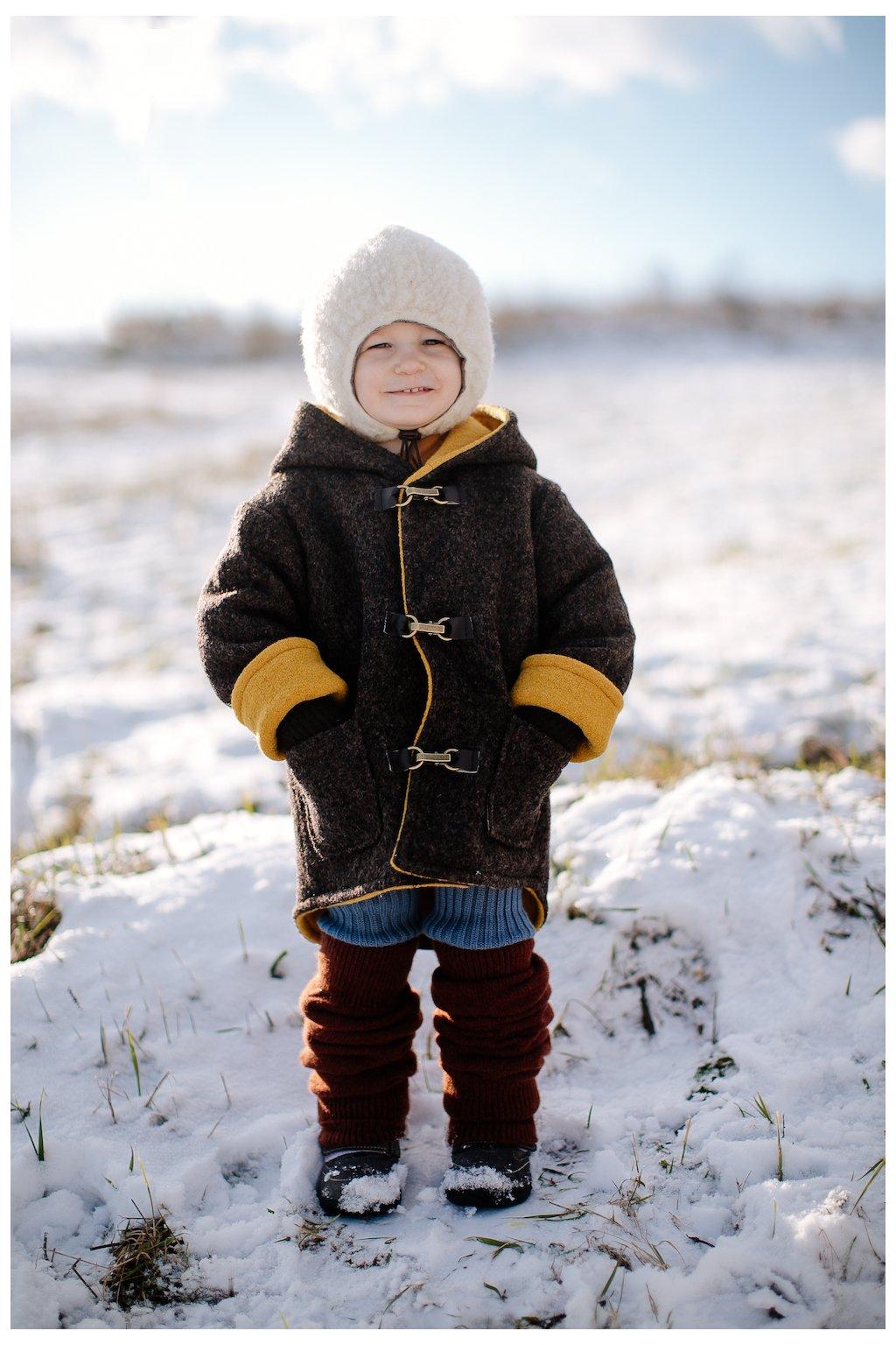 Obojstranný vlnený kabátik s vreckami na zimu (VIAC FARIEB)