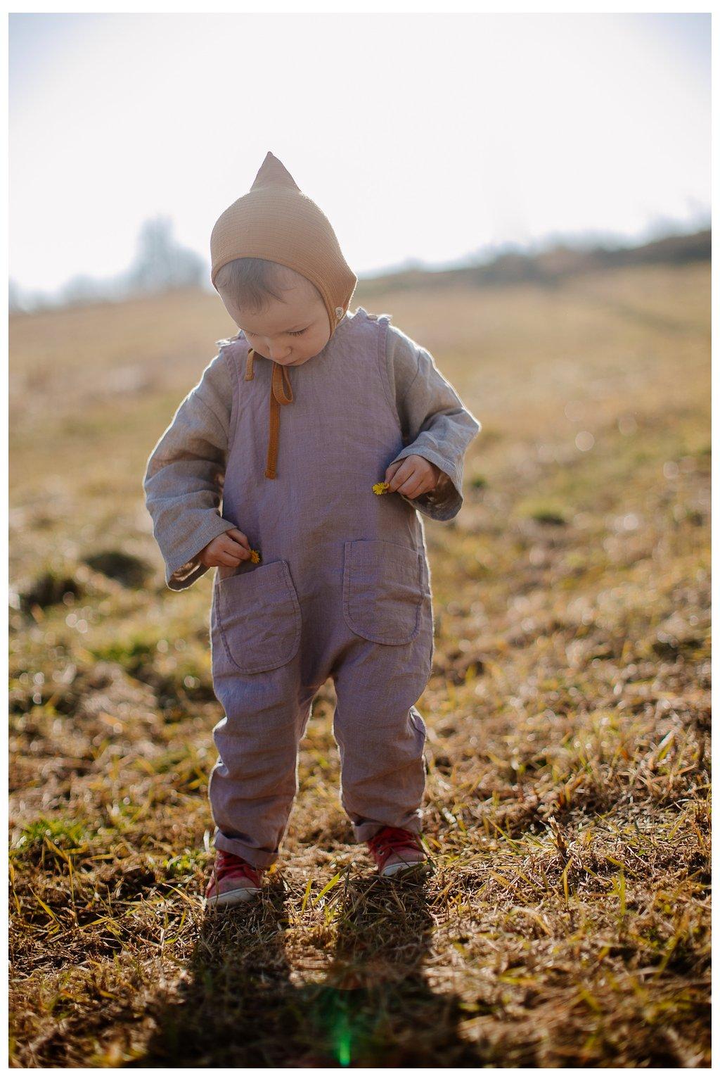 Detský ľanový overal s vreckami (VIAC FARIEB)