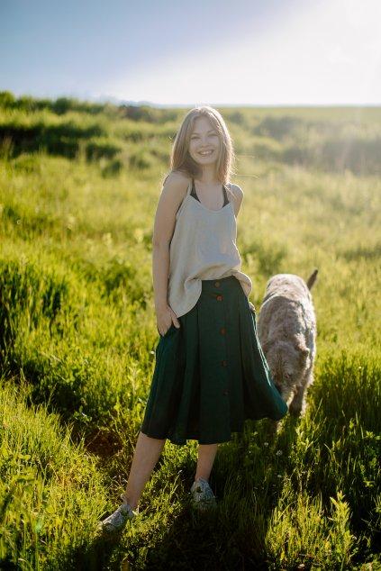 Dámska ľanová sukňa s gombíkmi (VIAC FARIEB)