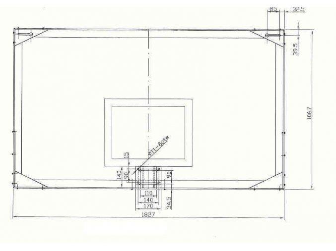 Basketbalová deska SURE SHOT 1800x1050 mm, vnitřní, skleněná, schváleno FIBA