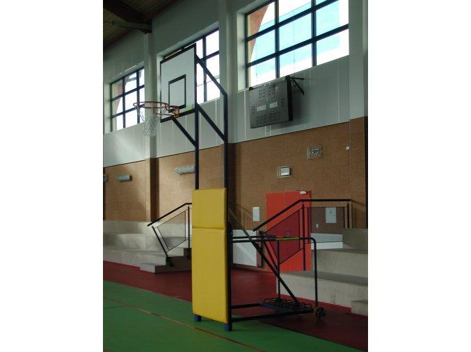 Basketbalová konstrukce DOR-SPORT, mobilní, sklopná, deska 1200x900 mm vnitřní