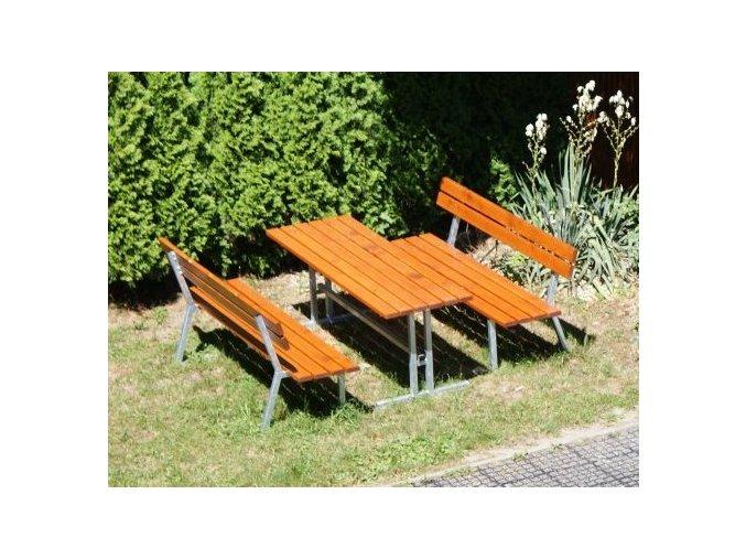 Zahradní set DOR-SPORT - 2 lavice s opěradlem a stůl
