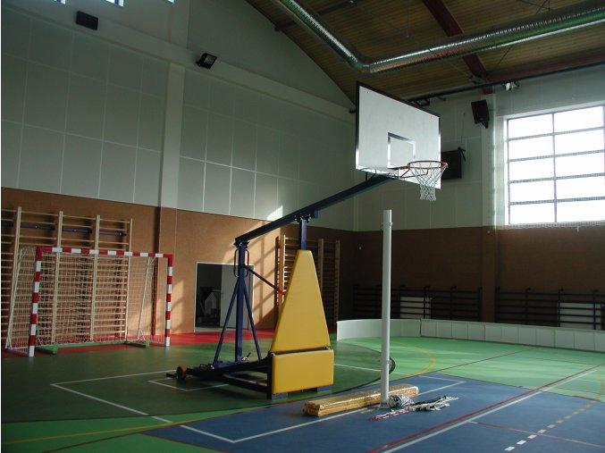Basketbalová konstrukce DOR-SPORT, mobilní, sklopná, deska 1800x1050 mm