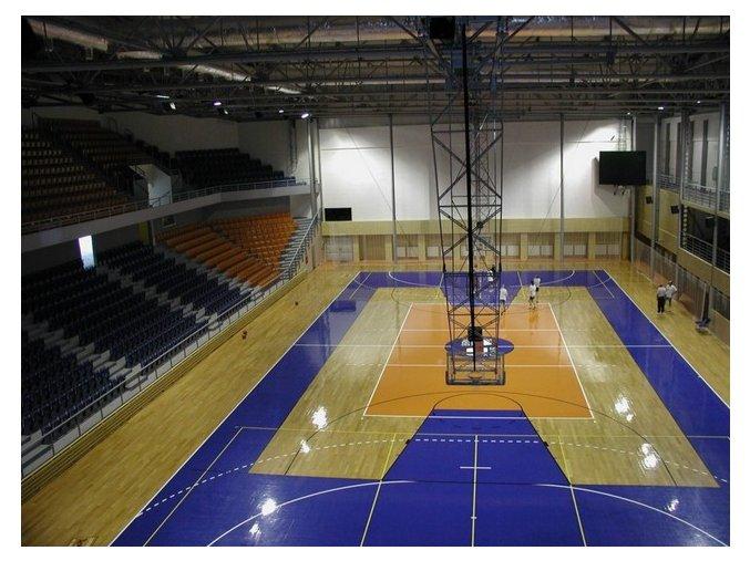 Konstrukce pro basketbal zvedaná  pod strop DOR-SPORT do celkové výšky 12 m