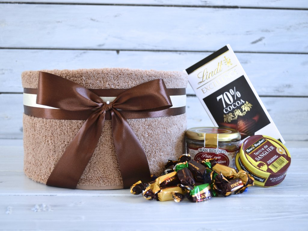 Jednopatrový ručníkový dort GOURMET malý s čokoládou