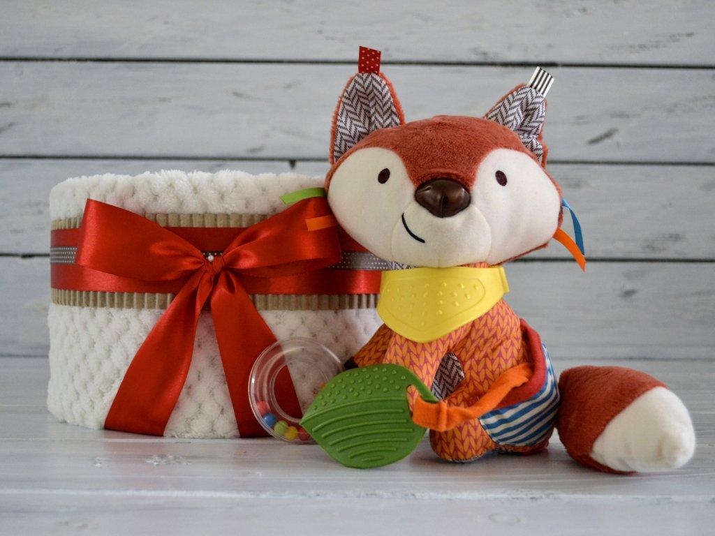 Jednopatrový plenkový dort IX. zdobený liškou Skip Hop