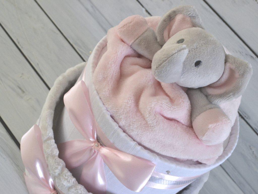 Dvoupatrový plenkový dort VII. s šedou dekou a sloníkem se světle růžovou stuhou