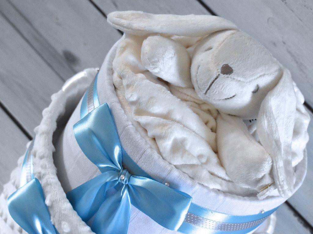 Dvoupatrový plenkový dort XIII. set minky deky a zajíčka modrá stuha