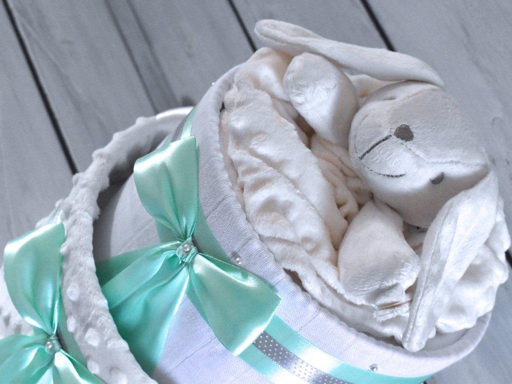 Dvoupatrový plenkový dort pro chlapečky XIII. set deky a pejska