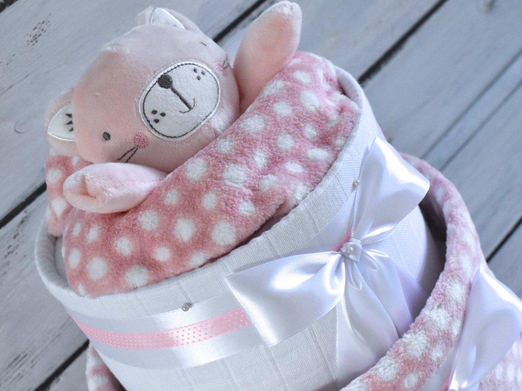 Dvoupatrový plenkový dort XIV. pro holčičky set deky a usínáčka ve tvaru kočičky