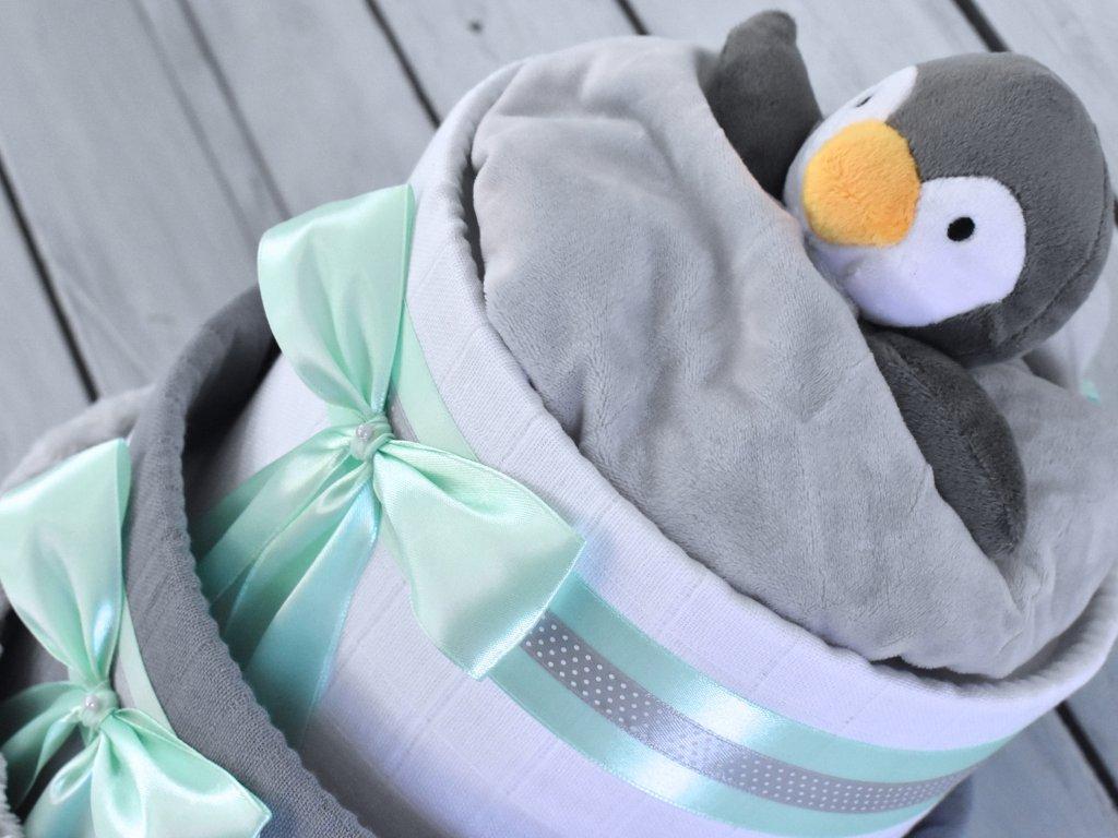 Třípatrový plenkový dort IV. zdobený šedým tučňákem usínáčkem mint mašle