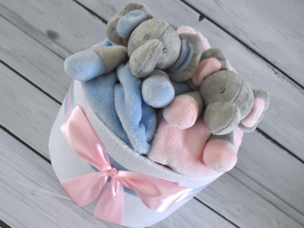 Jednopatrový plenkový dort pro dvojčata - holčička a chlapeček