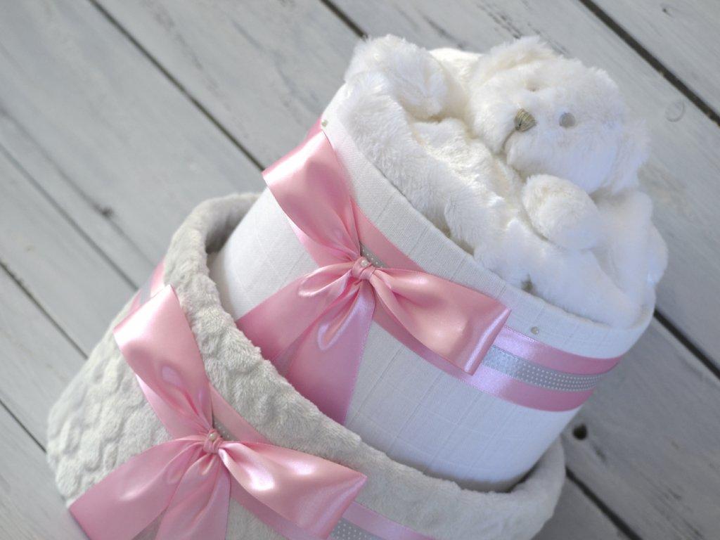 Dvoupatrový plenkový dort II. smetanový s růžovými mašlemi