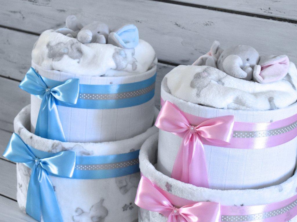 Dvoupatrový plenkový dort III. set deky a usínáčka medvídka detail