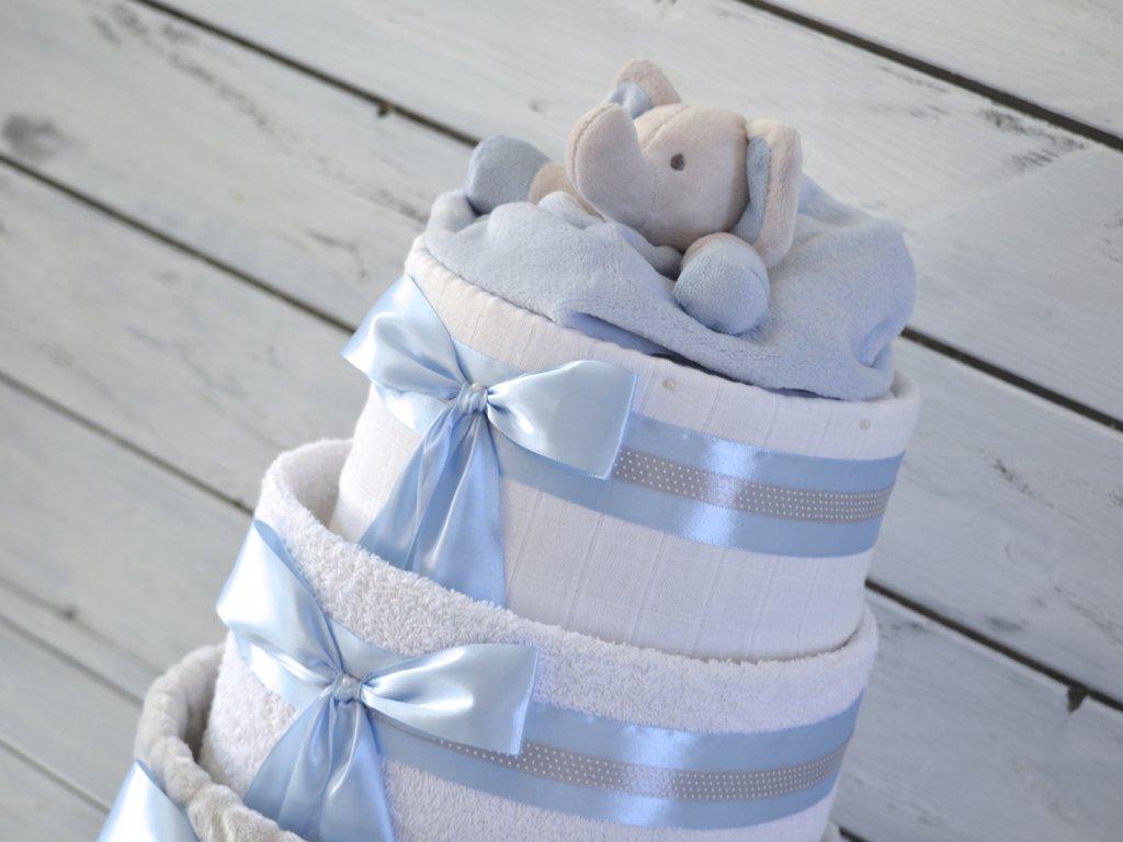 Třípatrový plenkový dort I. modrý